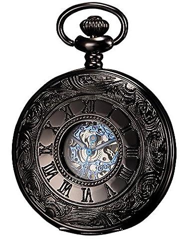 KS Men's Black Hollow Case Mechanical Pocket Watch Retro (Tipo Taschino)