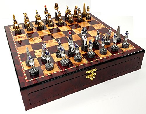 Egyptian Chess - Egyptian Anubis Gold & Silver Chess Men Set W/ Color Accents High Gloss Cherry and Burlwood Color Storage Board