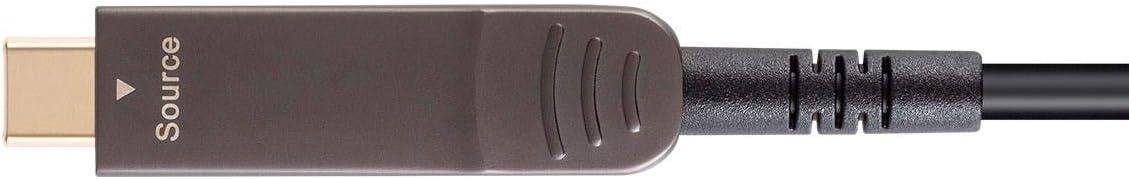 Monoprice USB 3.1 Type-C to Type-C Video Cable AOC Gold Plated Connectors Black SlimRun AV Series 138581 100 Feet 4K@60Hz Transmits Up to 100 Feet Fiber Optic