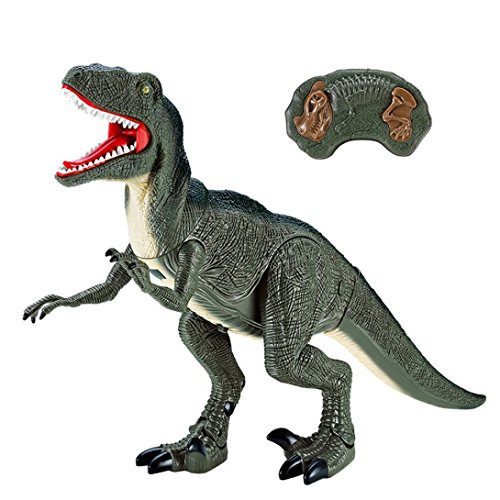 Price comparison product image Amiley Hot Sale Remote Control Velociraptor RC Walking Dinosaur Lights & Sounds Kid Pet Toy Animal Gift (Green)