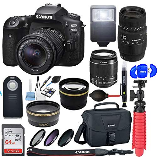 Canon EOS 90D DSLR Camera with 18-55mm & 70-300mm Dual Lens Bundle & Additional Accessories
