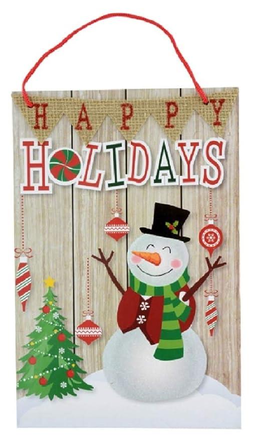 Amazon.com: Happy Holidays Snowman - Cartel decorativo para ...