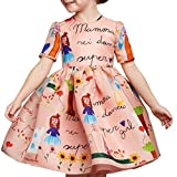 Girls Princess A Line pink playwear Mamma print Party Dresses,Pink,4 Years