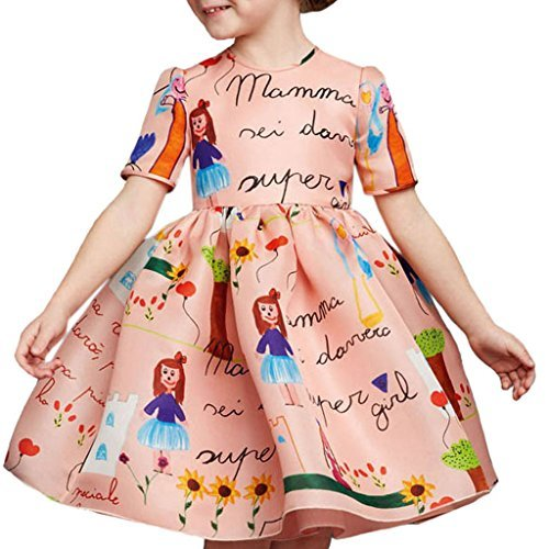 Girls Princess A Line pink playwear Mamma print Party Dresses,Pink,4 Years (Girls Designer Party Dresses)
