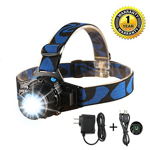 OZLON Waterproof LED Headlamp Head torch with Zoomable Focus Length and Rechargeable Li ion Battery, Wall Charger and USB Charging Cable Included for Running,Jogging,Free Work,Hiking,Fishing