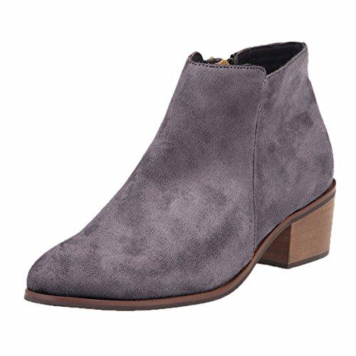 QIN&X Zapatos de mujer botas cortas Color sólido de gran tamaño irregular Zipper tacón afilado Grey