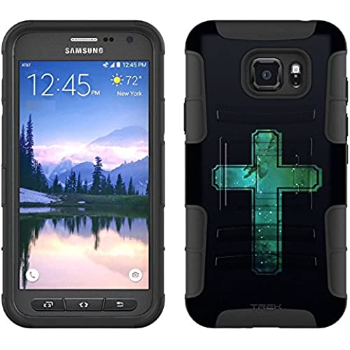 Samsung Galaxy S7 Active Armor Hybrid Case Nebula Green Cross on Black 2 Piece Case with Holster for Samsung Galaxy Sales