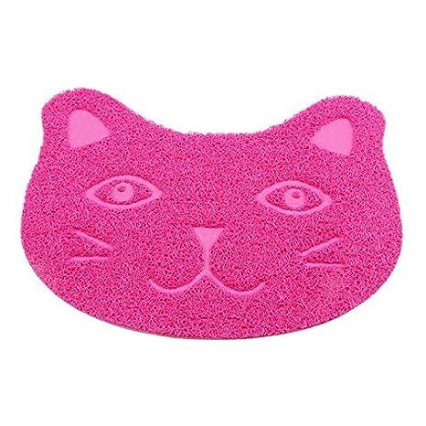 Alfombrilla para arena de gatos, PVC suave y antideslizante, con forma de cara de gato, para gatos, perros y conejos: Amazon.es: Productos para mascotas