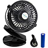 Battery Operated Clip on Mini Desk Fan,3 Speeds Personal Fans,USB Table Fans with 18650 Rechargeable Battery and 31.5inch USB Cable for Baby Stroller Home and Office (Black)