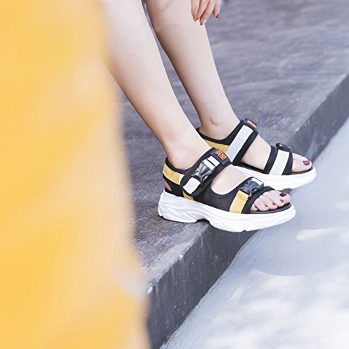 libre Enredaderas de Zapatos de aire Confort Peep verano al sintético Toe Casual de plataforma Yellow cuero de Oficina mujer Sandalias para para Zapatos caminar Sandalias Enredaderas Hebilla Color Damas ASdwqSO
