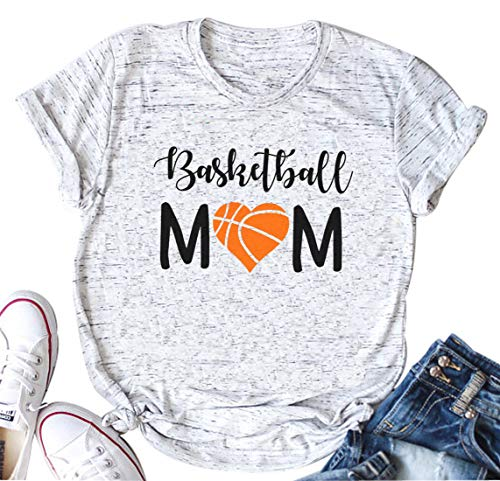 YUYUEYUE Women Basketball Mom Letter Print T Shirt Casual Funny Mom Shirts Short Sleeve Tops Tee (X-Large, White)