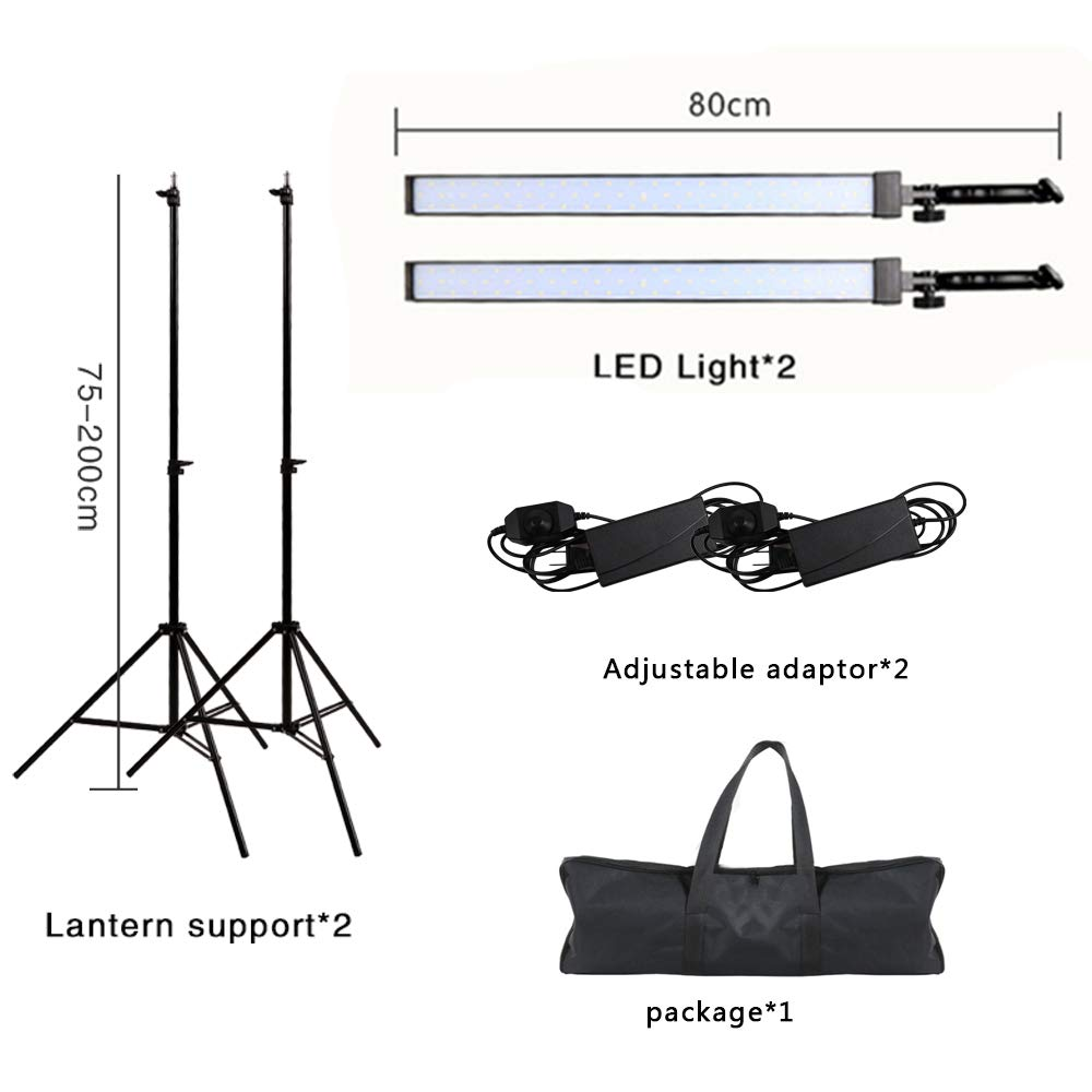 GSKAIWEN写真スタジオLED照明キットライトスタンド付きの調節可能なライト三脚写真のビデオキャプチャの肖像   B07FPPTCZL