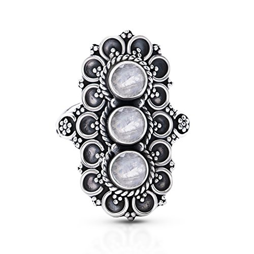 Koral Jewelry Moonstone 3 Stones Vintage Gipsy Ring 925 Sterling Silver US Size 7 8 9 (8)