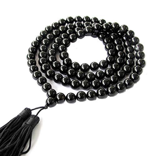 8mm 108 Black Agate Beads Buddhist Prayer Mala Necklace