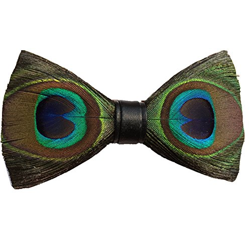 Novelty Feather Bow Tie Natural Material Bowtie (Peacock)