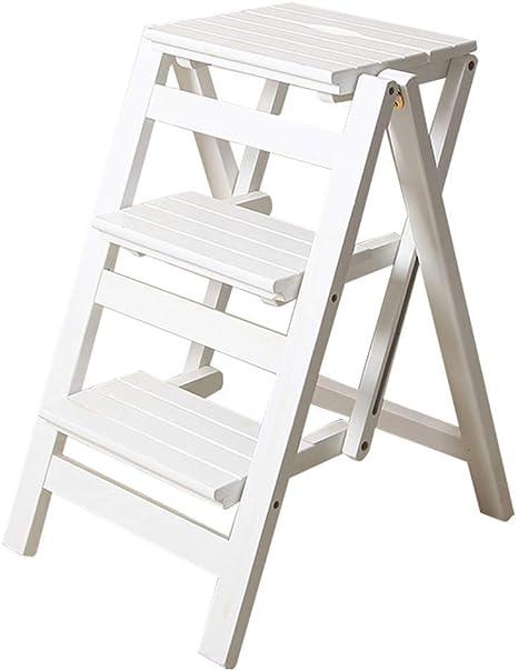 MultifuncióN Estante Almacenamiento Baldas Taburetes de escalera Escalera de mano plegable 3 peldaños Madera Blanco Ligero y plegable for niños adultos for biblioteca Loft Cocina Decoración del hogar: Amazon.es: Hogar