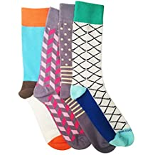 Men Socks 4 Pairs Box by PHILOSOCKPHY-Men Dress Socks Colorful Designs - Cotton