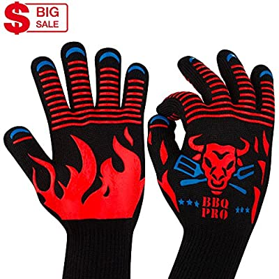 BBQ Gloves - Grilling Gloves - Fireproof Gloves - Barbecue Gloves - Outdoor BBQ - Best Grill Gloves for Men Women - BBQ Grill Accessories - Sale Charcoal Grill Gloves - Cut Resistant Forearm Protect by BBQPRO