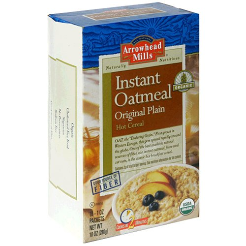Arrowhead Mills Organic Instant Oatmeal, Original Plain Hot Cereal, 10-Count, 1-Ounce Packets (Pack of 4)