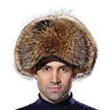 URSFUR Russian Fur Trapper Hat Leather Winter Men Real Raccoon Fur Visors Cap