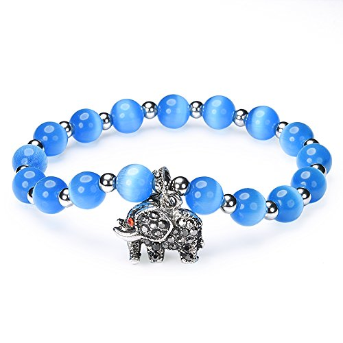 Blue Beads Stretch Bracelets,Cat Eye Jewels AA Rate Blue Semi-Precious Water Drop Stones Elephant Charm Bracelet (H65)