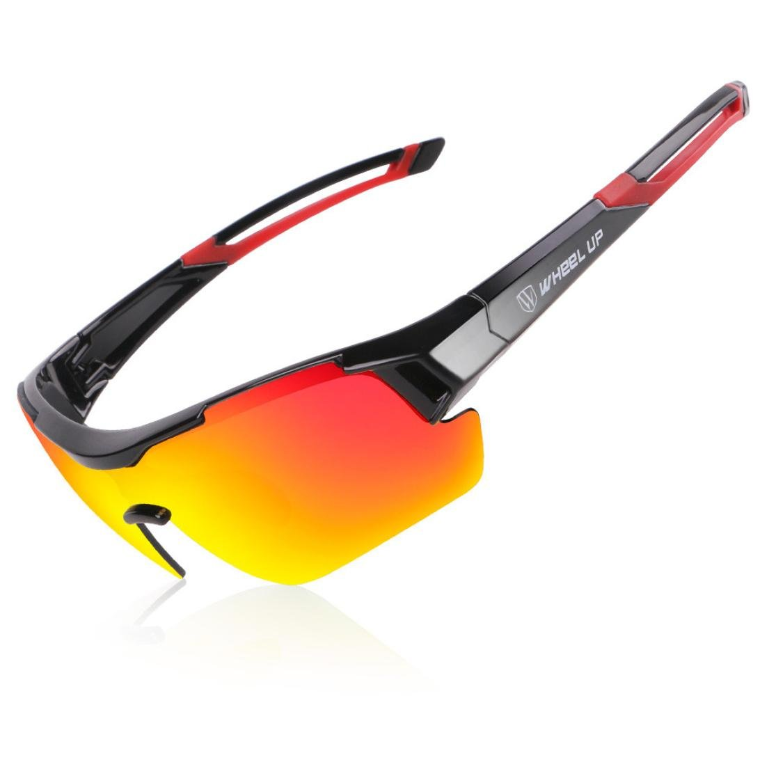 bd411160970 Amazon.com   CreazyBee Polarized Sports Sunglasses for Men Women Cycling  Running Riding Driving Fishing Golf Baseball Glasses (Red)   Sports    Outdoors