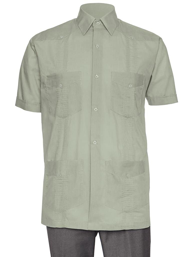 Gentlemens Collection Short Sleeve Guayabera Shirt for Men Cuban Linen Look
