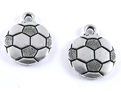 TierraCast Pewter Sports Charms-SILVER SOCCER BALL (2) (Pewter Charms 2)