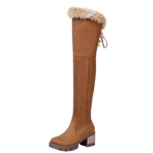 AIYOUMEI Damen Blockabsatz Overknee Stiefel mit Schnürung