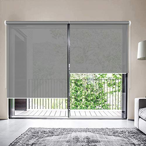 ZY Blinds Solar Window Shades, Upgrade Light Filtering UV Protection Flame Retardant Water Proof Cord Loop Window Roller Shades, 20″ W x 36″ L, Dark Grey