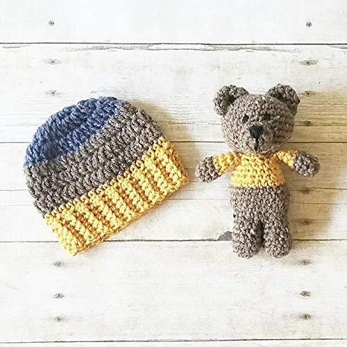 6441aa545 Amazon.com: Crochet Striped Beanie Hat Teddy Bear Stuffie Set Infant ...