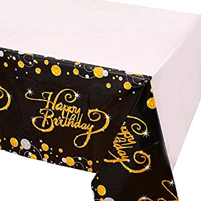 6 Pack Happy 90th 80th 70th 60th 50th 40th 30th Birthday Tablecloths,Black and Gold Dot Confeti Plastic Table Covers for Party Supplies Decoration - 52