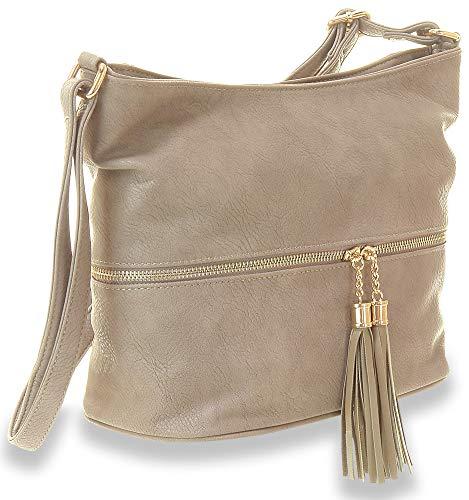 Tassel Accented Hobo Handbag - Tassel Accented Hobo Handbag