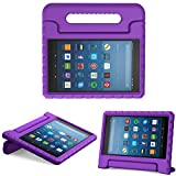 MoKo Case for All-New Amazon Fire HD 8 Tablet (6th/7th/8th Generation, 2016/2017/2018 Release) Kids Shock Proof Convertible Handle Light Weight Protective Stand Cover Case for Fire HD 8,Purple