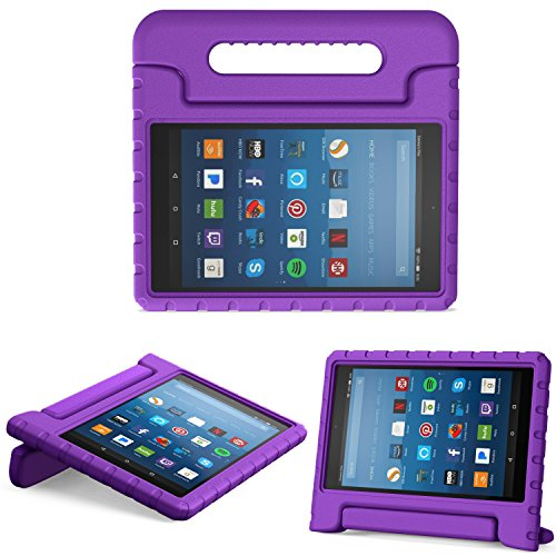 MoKo Case for All-New Amazon Fire HD 8 Tablet (6th/7th/8th Generation, 2016/2017/2018 Release) Kids Shock Proof Convertible Handle Light Weight Protective Stand Cover Case for Fire HD 8,Purple ()
