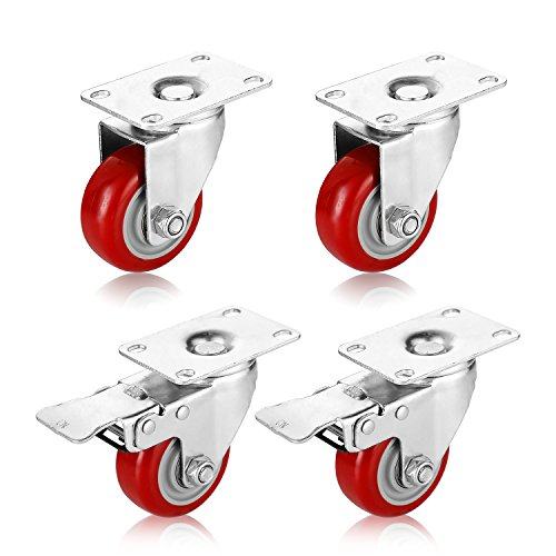 PARLOS 3 Inch Heavy Duty Caster Wheels with 360 Degree Swivel Plate on Polyurethane Wheel 970 Lbs, 4 Pack (2 with Brake & 2 Without Brake), 40007 ()