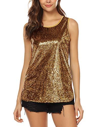URRU Women's Shimmer Sequin 1920s Party Shirt Camisole Vest Sleeveless Glitter Sparkle Tank Tops Gold L