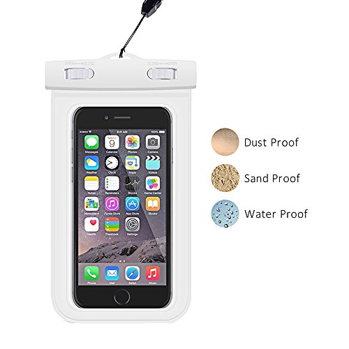 Parboo Universal Waterproof Case for iPhone 6S,6,6S Plus,7 SE 5S, Samsung Galaxy S7, S6 Note 5 4, HTC,LG Sony Nokia Motorola,White