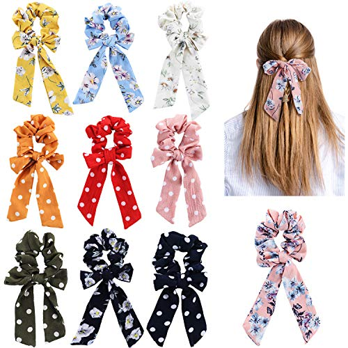 10 Pieces Hair Scrunchies Bowknot Hair Bands Scarf Hair Ties Elastic Ponytail Holder for Girls and Women Hair Accessory