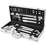 FYLINA BBQ Grill Tool Set, 21-Piece Heavy Duty Stainless Steel Grilling Utensils Tools