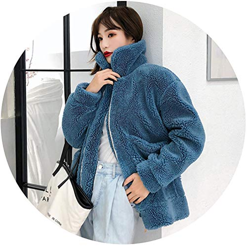Winter Teddy Coat Women Thick Warm Faux Fur Coat Oversize Shaggy Teddy Bear Jacket Abrigo Mujer,Blue,M
