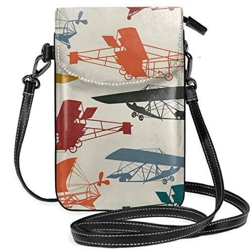 Free Vintage Airplane Clipart Women's Crossbody Cell Phone Purse Wallet Bag PU Leather Roomy Travel Passport Bag With Shoulder Strap For Travel
