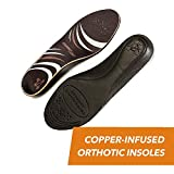CopperJoint - Copper-Infused Orthotic Insoles, Moisture Wicking Shoe Inserts Offer Firm Arch Support to Help Relieve Foot Soreness, Pair (Large)