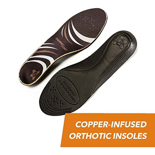 CopperJoint - Copper-Infused Orthotic Insoles, Moisture Wicking Shoe Inserts Offer Firm Arch Support to Help Relieve Foot Soreness, Pair (Small)