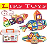 Magnetic Building Blocks Toy - 72 pcs Set of Fun, Creative, Educational 3D Construction. Plastic Tiles for Kids Age 3+ with Carry Case and Alphabet Squares. For Boys and Girls by LIRS TOYS
