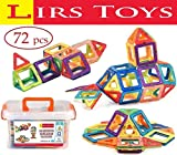 Toys : LIRS TOYS Magnetic Building Blocks Toy - 72 pcs Set of Fun, Creative, Educational 3D Construction. Plastic Tiles for Kids Age 3+ with Carry Case and Alphabet Squares. For Boys and Girls