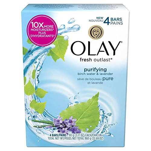 Olay Fresh Outlast Purifying Birch Water & Lavender Beauty Bar 3.17 Oz, 4 Count, 0.81 Pound ()
