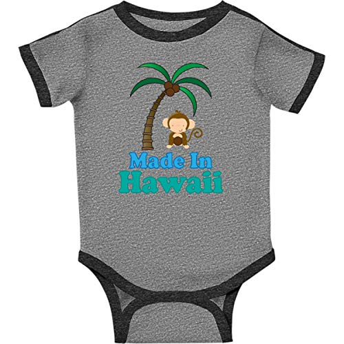- inktastic - Made in Hawaii Infant Creeper Newborn Ringer Heather and Smoke d6da