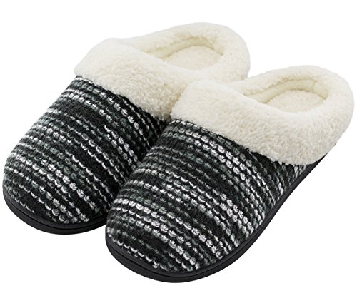 HomeTop Women's Indoor/Otudoor Knitted Plush Fleece Lined Slip On Memory Foam Clog House Slippers (US Women's 11-12, Black)