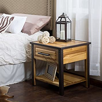Great Deal Furniture 295318 Glendora Industrial Solid Wood Nightstand Accent Table w Drawer, Brown